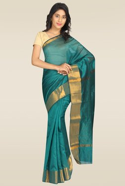 Pavecha Blue Silk Gold Zari Saree
