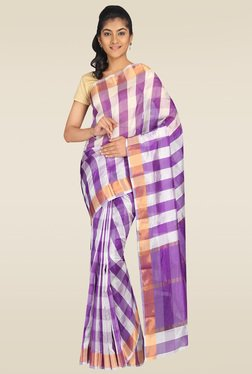 Pavecha Purple Banarasi Cotton Silk Saree