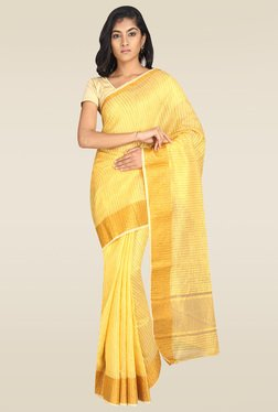 Pavecha Yellow Banarasi Cotton Silk Saree