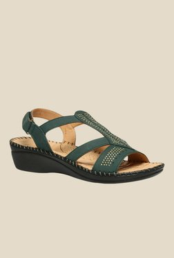 Scholl Swaroski Green Back Strap Wedges