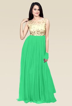 Ethnic Basket Light Green Semi Stitched Gown