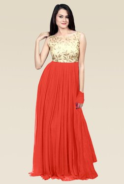 Ethnic Basket Peach Georgette Semi Stitched Gown