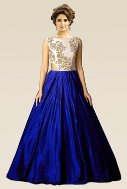 Ethnic Basket Royal Blue Semi Stitched Tat Silk Gown