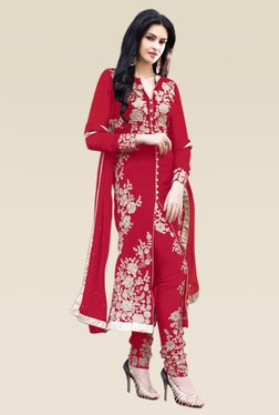 Ethnic Basket Red Semi Stitched Straight Cut Set