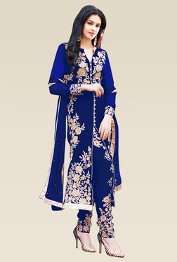 Ethnic Basket Blue Full Sleeves Semi Stitched Straight Cut