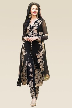 Ethnic Basket Black Semi Stitched Straight Cut Set