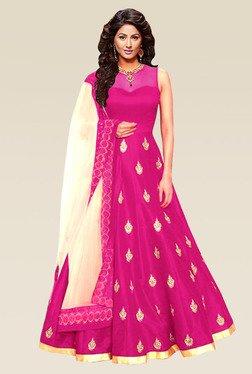 Ethnic Basket Pink Semi Stitched Bhagalpuri Anarkali