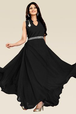Ethnic Basket Black Velvet And Georgette Semi Stitched Gown