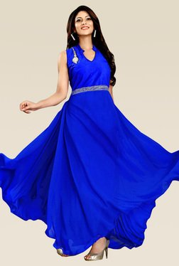 Ethnic Basket Blue Velvet And Georgette Semi Stitched Gown