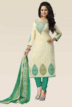Ethnic Basket Off White Semi Stitched Dress Material