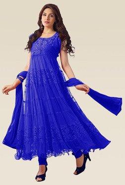 Ethnic Basket Blue Net Sleeveless Semi Stitched Anarkali