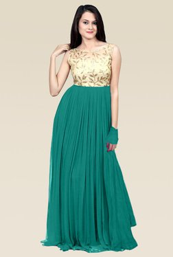 Ethnic Basket Sea Green Semi Stitched Gown