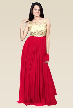 Ethnic Basket Pink Boat Neck Georgette Semi Stitched Gown