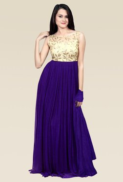 Ethnic Basket Purple Georgette Semi Stitched Gown