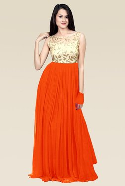 Ethnic Basket Orange Semi Stitched Gown
