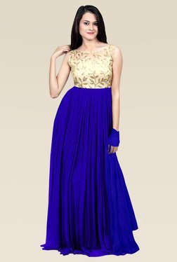Ethnic Basket Royal Blue Semi Stitched Gown