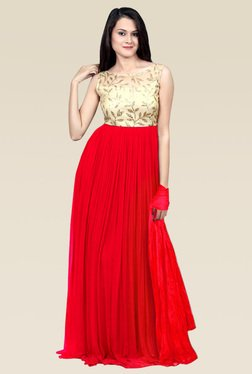 Ethnic Basket Pink Georgette Semi Stitched Gown