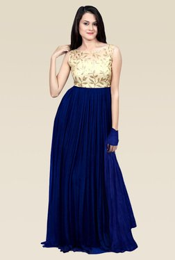 Ethnic Basket Navy Georgette Semi Stitched Gown