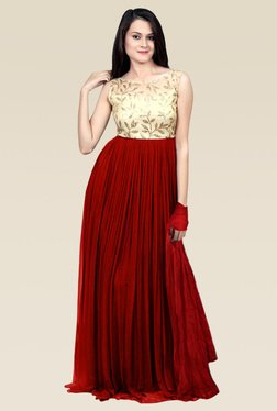 Ethnic Basket Red Georgette Semi Stitched Gown