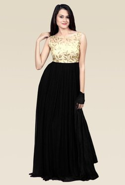 Ethnic Basket Black Georgette Semi Stitched Gown