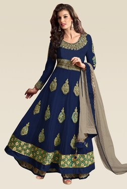 Ethnic Basket Blue Semi Stitched Net Anarkali