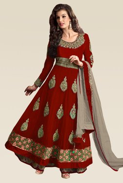Ethnic Basket Red Semi Stitched Net Anarkali