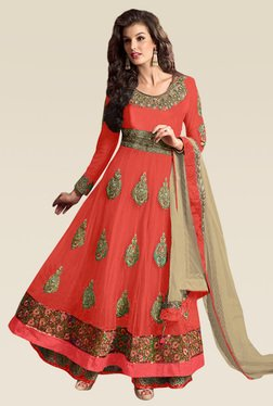 Ethnic Basket Peach Semi Stitched Net Anarkali