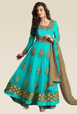 Ethnic Basket Blue Embroidered Net Semi Stitched Anarkali