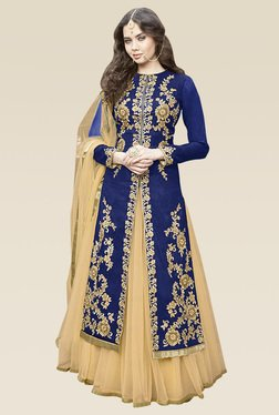 Ethnic Basket Blue Semi Stitched Bhagalpuri Lehenga Suit