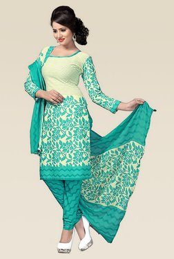 Ethnic Basket Turquoise Printed Semi Stitched Dress Material