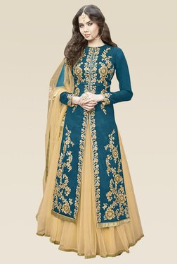 Ethnic Basket Blue Embroidered Semi Stitched Lehenga Suit