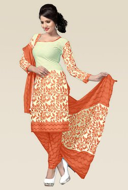 Ethnic Basket Orange Semi Stitched Art Silk Dress Material