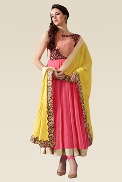 Ethnic Basket Pink Sleeveless Semi Stitched Anarkali Set