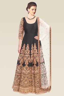 Ethnic Basket Black Semi Stitched Anarkali Dress Material