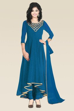 Ethnic Basket Sea Green Semi Stitched Anarkali