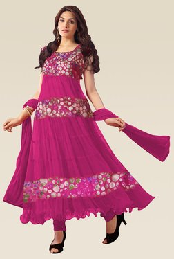 Ethnic Basket Pink Sleeveless Semi Stitched Anarkali