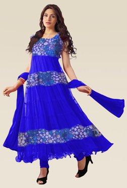 Ethnic Basket Blue Sleeveless Semi Stitched Anarkali