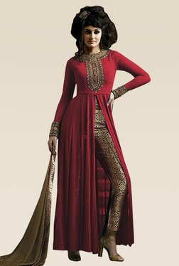 Ethnic Basket Red Embroidered Semi Stitched Straight Cut Set