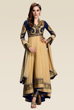 Ethnic Basket Beige Full Sleeves Semi Stitched Anarkali