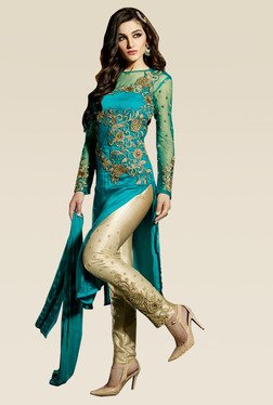 Ethnic Basket Blue Semi Stitched Straight Pant Set