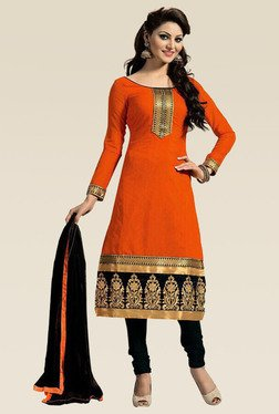 Ethnic Basket Orange Semi Stitched Straight Cut Set