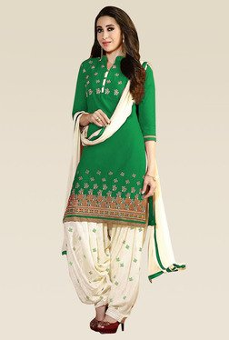 Ethnic Basket Green Printed Unstitched Patiyala Set