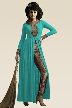 Ethnic Basket Sky Blue Semi Stitched Straight Cut Set