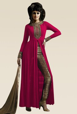 Ethnic Basket Pink Semi Stitched Straight Cut Set