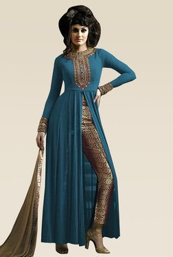 Ethnic Basket Blue Semi Stitched Straight Cut Set