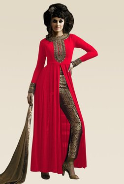 Ethnic Basket Red Full Sleeves Semi Stitched Dress Material