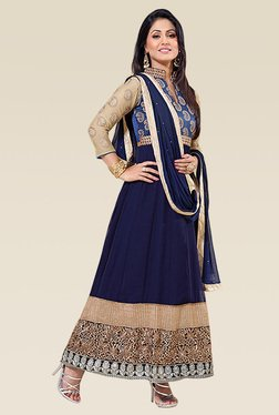 Ethnic Basket Blue Full Sleeves Semi Stitched Anarkali