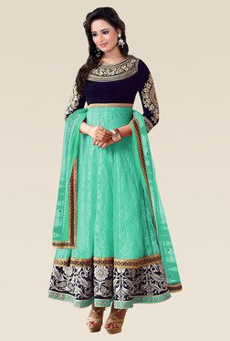 Ethnic Basket Sea Green 3/4th Sleeves Semi Stitched Anarkali
