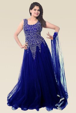 Ethnic Basket Blue Sleeveless Semi Stitched Gown