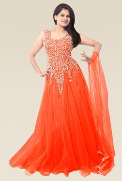 Ethnic Basket Orange Sleeveless Semi Stitched Gown